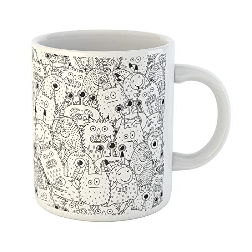 Semtomn Funny Coffee Mug Halloween Funny Monsters for Coloring Book Black and Page 11 Oz Ceramic Coffee Mugs Tea Cup Best Gift Or Souvenir -
