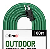 Otimo 100 ft 16/3 Outdoor Heavy Duty Extension Cord - 3 Prong Extension Cord, Green