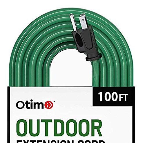 Otimo 100 ft 16/3 Outdoor Heavy Duty Extension Cord - 3 Prong Extension Cord, Green (100ft Duty Heavy Cord Extension)