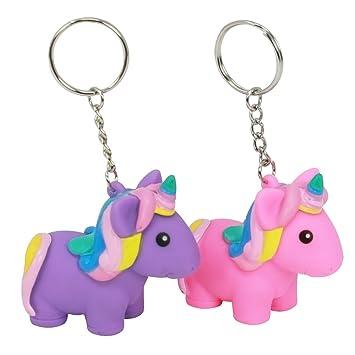 com-four® 2X Magic Squeeze Llavero Unicornio en Rosa y Morado, Colgante Unicornio para trituración, 5.7 x 5.5 x 3 cm (02 Piezas - Colgante Squeeze ...