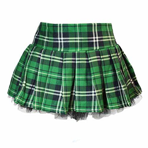 Plaid Schoolgirl Costume Skirt with Pettiskirt (S/M, Green)