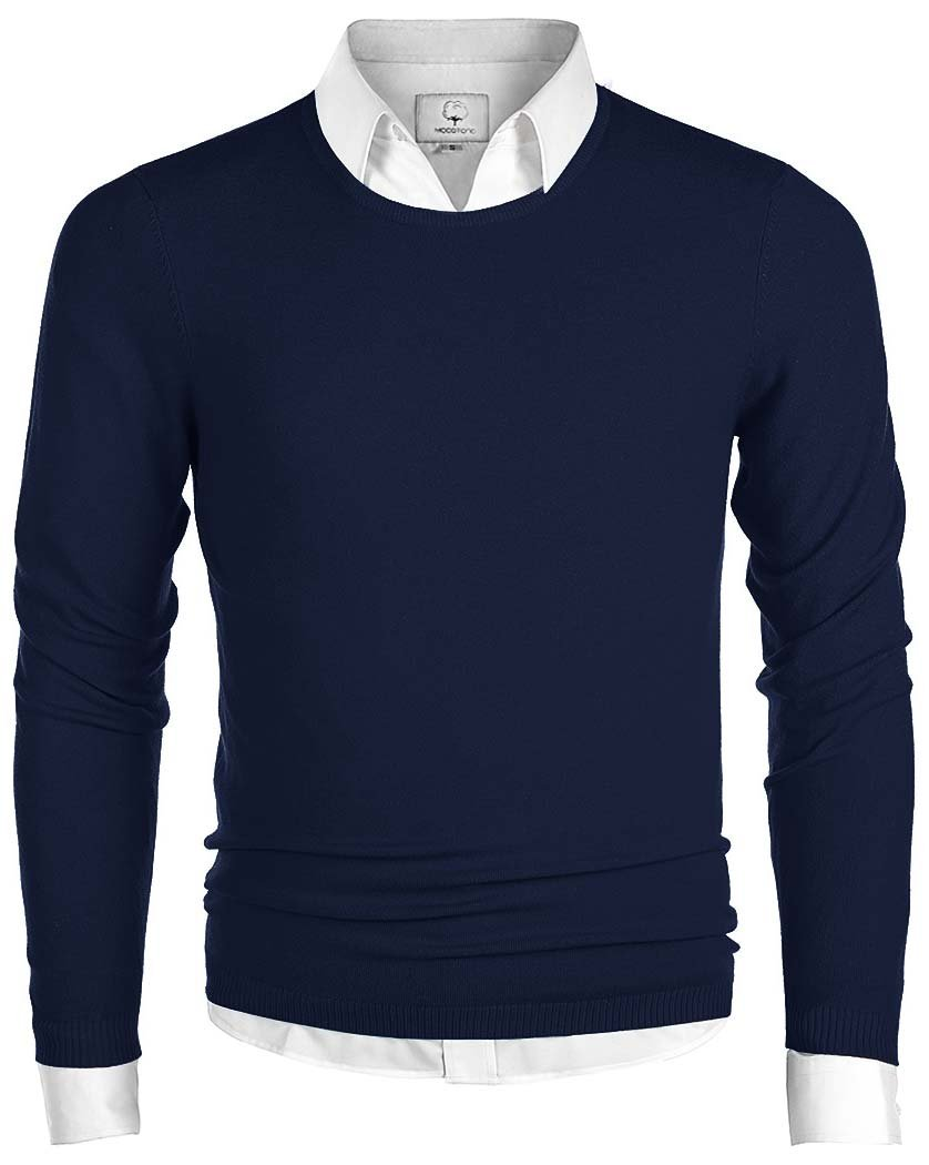 MOCOTONO Men's Long Sleeve Crew Neck Pullover Knit Sweater Navy Medium