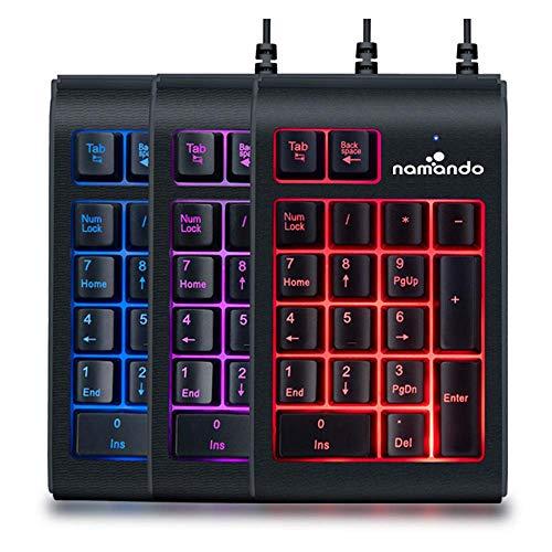 Namando USB Numeric Keypad Wired 18 Key Number Pad with Color Change Back lit Keys Portable Numpad for Windows/Mac/Linux/Chromebook Computers