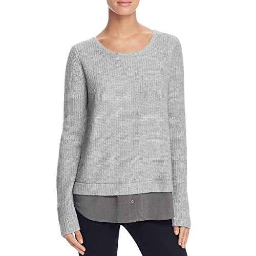 Joie Womens Wool Contrast Trim Pullover Sweater Gray S