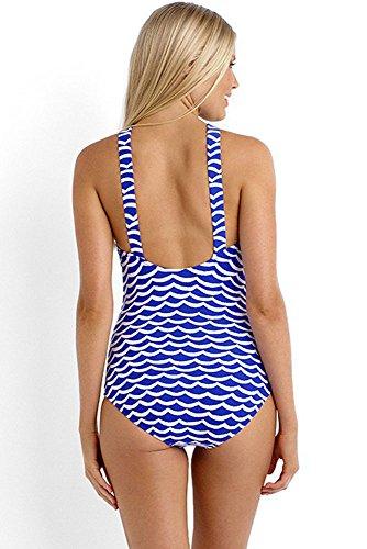 Nuovo blu bianco Maremoti collo alto basso posteriore 1pezzo monokini bikini Swimwear estivo taglia UK 16EU 44