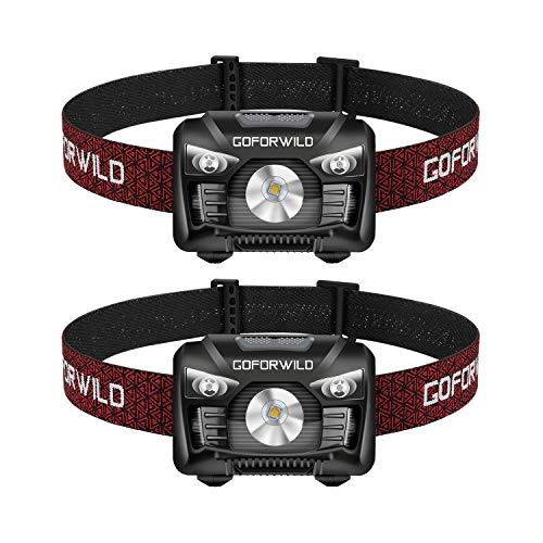 2 Pack of Rechargeable Headlamp, 500 Lumens White Cree LED Head lamp with Red light and Motion Sensor Switch, Perfect for Running, Hiking, Lightweight, Waterproof, Adjustable Headband, 5 Display Modes