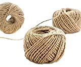 2 Roll 50M Natural Burlap Jute Rope Twine Cord Hemp Rope String Flowers Packaging Materials Ribbons DIY Jewelry Materials 3 Shares of Natural Hemp Rope Bow