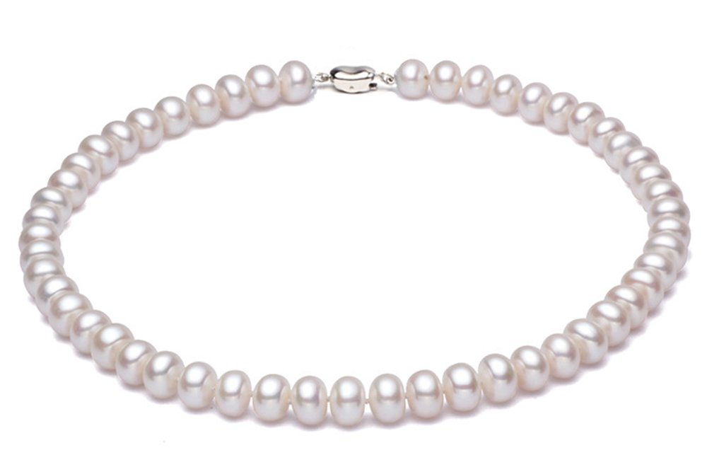 JYX Classic 8mm White Freshwater Pearl Necklace 18''
