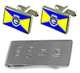 Marataizes City Espirito Santo State Flag Cufflinks & James Bond Money Clip