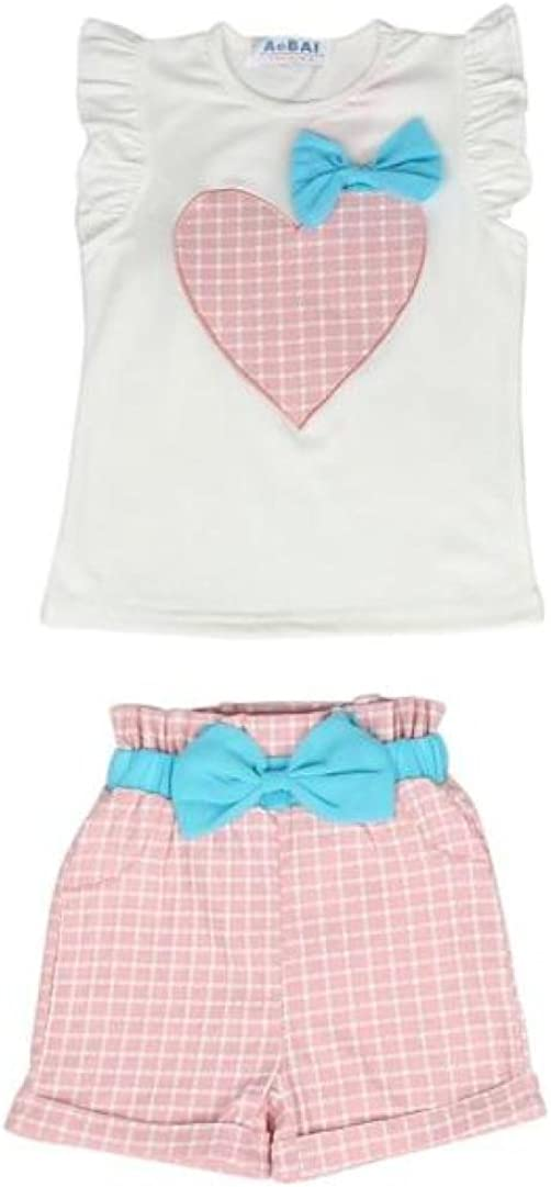Fineser 2PCS Kis Baby Girls Heart Embroidered Bowknot Plaid T-Shirt Tops+Short Pants Outfits Set