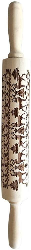 Elk Engraved Embossing Rolling Pin with Christmas Symbols For Baking Christmas Theme Pastries /& Cookies JIDSFIE Christmas Wooden Rolling Pins 13.7 inch