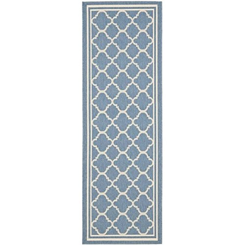 Safavieh Courtyard Collection CY6918-243 Blue and Beige Indoor/ Outdoor Runner (2'3