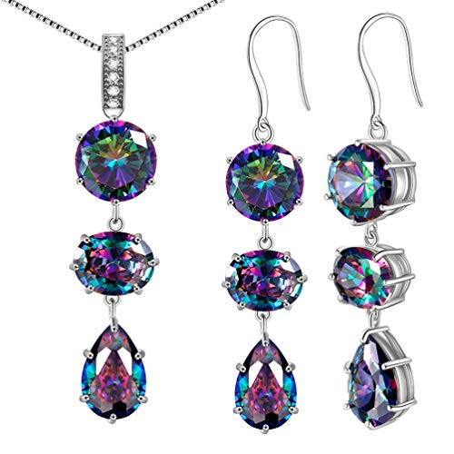 (Mystic-topaz Rainbow Jewelry Sets Women 925 Sterling Silver Triple Necklace/Earrings Sets Crystal Gift Girls Dating/Wedding/Anniversary Present Fashion Jewellery DS0033W)