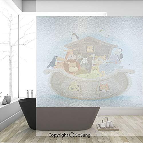 3D Decorative Privacy Window Films,Various Animals Inside Noahs Ark Lion Elephant Giraffe Monkey Zebra Ocean Image,No-Glue Self Static Cling Glass film for Home Bedroom Bathroom Kitchen Office 36x36 I