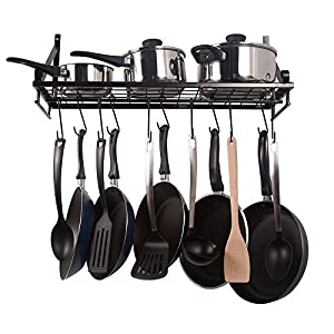kitchen pot organizer zesproka kitchen wall pot pan rack with 10 2461