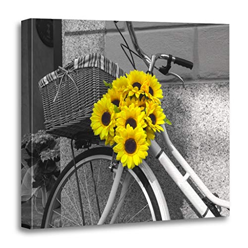 Emvency Painting Canvas Print Wooden Frame Artwork Yellow Black Bicycle Decorated Sunflowers Bw White Decorative 12x12 Inches Wall Art for Home -