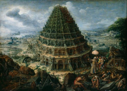 Classic Art Poster - The Tower of Babel by Marten van Valckenborch the Elder (Tower Of Babel Craft)