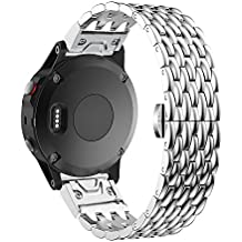 26mm Watch Band for Garmin Fenix 5X/3/3 HR/D2 Charlie/Descent Mk1 Quick Fit Dragon Grain Stainless Steel Watch Band with Screen Protector and Tool by Yooside(silver)