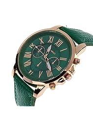 TOOPOOT(TM) Women's Roman Numerals Faux Leather Analog Quartz Watch (Dark Green)