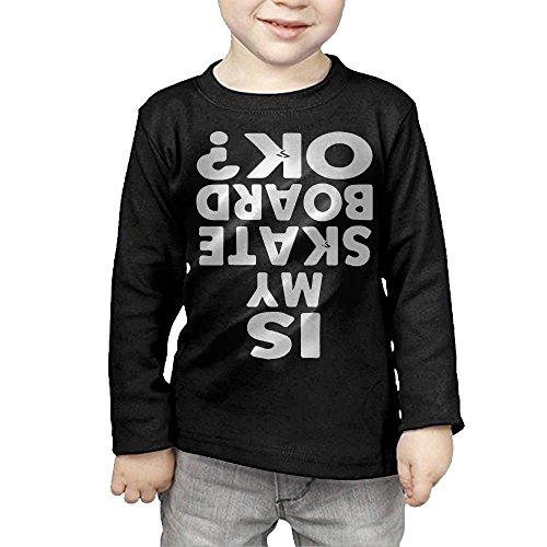 Bandana Skateboard Truck (ZheuO Boys & Girls Baby Is My Skateboard OK Cozy 100% Cotton Tee Unisex Black 5-6 Toddler)