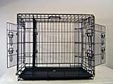 Cheap Everila Extra Large 48″ Three Door New Dog Crate Cage Kennel with Divider 35″ H Greyhound