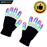 DGJWH LED Gloves Flashing Finger Light Gloves 3 Colors 6 Modes for Halloween, Christmas, Novelty Light Up Toys, Colorful