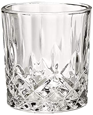 Lead-Free Crystal Double Old-Fashioned Highball Whiskey Glasses, Set of 6, Heavy Base Barware Glasses Set, 8 Ounce Drinking Glasses. Bonus Set of 2 Bar Drink Coasters Included