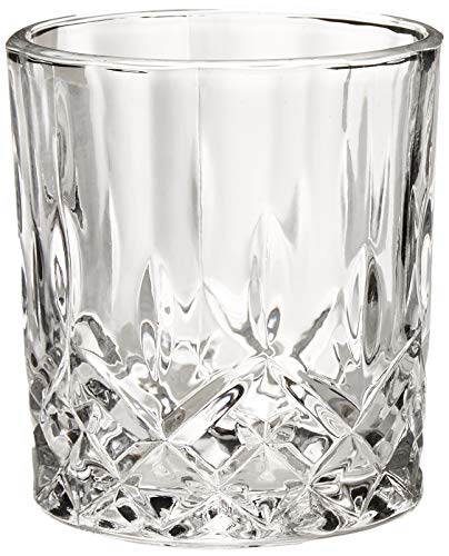 Bezrat Lead-Free Crystal Double Old-Fashioned Whiskey Glasses, SET OF 6, Heavy Base Barware Glasses Set, 8oz Drinking Glasses. Set of 2 Bar Drink Coasters ()