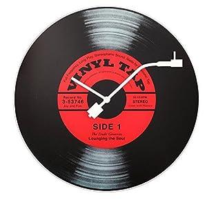 """NeXtime Reloj de pared  """"VINYL TAP"""", diseño disco de vinilo, de vidrio, negro y rojo, redondo, ø 43 cm 5"""