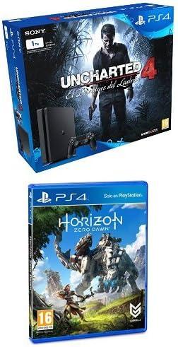 PlayStation 4 Slim (PS4) 1TB - Consola + Uncharted 4 + Horizon Zero Dawn - Edición Normal: Amazon.es: Videojuegos