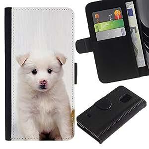 Planetar® Modelo colorido cuero carpeta tirón caso cubierta piel Holster Funda protección Para Samsung Galaxy S5 V SM-G900 ( Perrito blanco del rosa de la nariz de perro Negro Ojos )