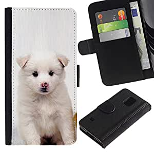 Billetera de Cuero Caso Titular de la tarjeta Carcasa Funda para Samsung Galaxy S5 V SM-G900 / White Puppy Pink Nose Dog Black Eyes / STRONG
