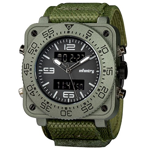 Band Bezel Wrist Watch (INFANTRY Mens Big Face Tactical Military Analog Wrist Watch with Green Hook&Loop Band Heavy Duty)