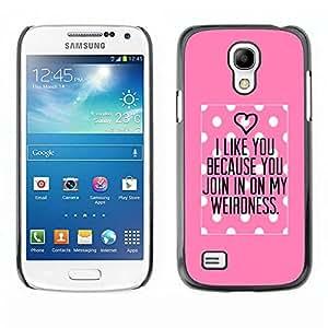 TopCaseStore / la caja del caucho duro de la cubierta de protección de la piel - Pink Love Valentines Couple - Samsung Galaxy S4 Mini i9190 MINI VERSION!