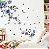 Vinilo adhesivo de pared, diseño de flores moradas y hojas verdes, extraíble, para decorar un salón, dormitorio, comedor, cocina, etc., ideal para habitaciones de niños y niñas