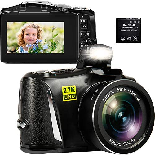 """Digital Camera, 2.7K 48MP Point and Shoot Camera with 3"""" LCD Screen, Full HD Portable Mini Compact YouTube Vlogging Blogging Camera for Beginners Students"""