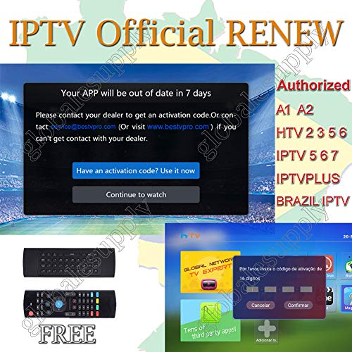 Brazil iptv Renewal 16-Digit yearly Renew Code for HTV 2 3 5 / A2 / A1 / IPTV 5 6 / IPTV5+Plus Portuguese TV Box Subscription Service Valid for 13 Months with One Air Fly Mouse for Free