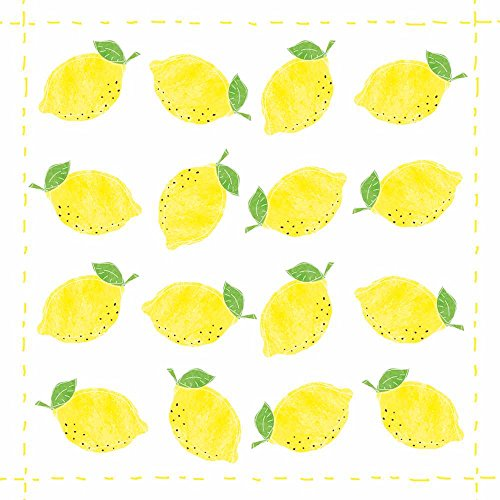 Paperproducts Design 1331970 Lunch Napkin with Exquisite Fashion Lemon Allover Design, 6.5 x 6.5'', Multi by Paperproducts Design