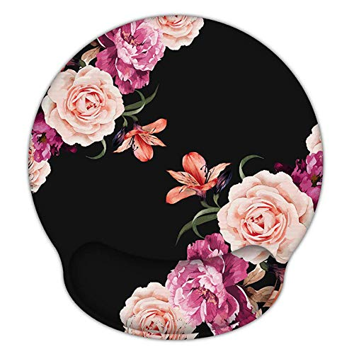 Ergonomic Mouse Pad with Gel Wrist Rest Support, iLeadon Non-Slip Rubber Base Wrist Rest Pad for Home, Office Easy Typing & Pain Relief, Peony Flower