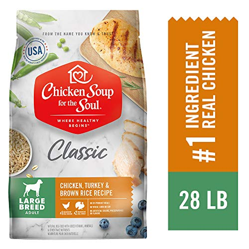 CHICKEN SOUP FOR THE SOUL Large Breed Adult Dog Food, Chicken, Turkey & Brown Rice Recipe, 28 lb. Bag | Soy Free, Corn Free, Wheat Free | Dry Dog Food Made with Real Ingredients