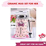 Hello Kitty Merchandise : Ceramic Coffee cups with lids and handle and Spoon - a Special Gift for her