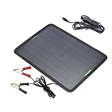 ALLPOWERS 18V 12V 10W Portable Solar Panel Battery Charger Maintainer Bundle with Cigarette Lighter Plug, Alligator Clip for Automobile Motorcycle Tractor Boat RV Batteries