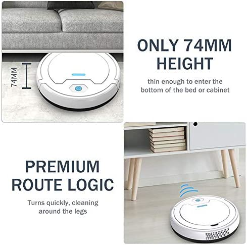 CFW Aspirateur Robot, 3-in-1 Auto Rechargeable Intelligent Robot Balayer, avec Nano pulvérisation, Endurance à 90min Runtime, idéal pour Les Maisons avec Animaux