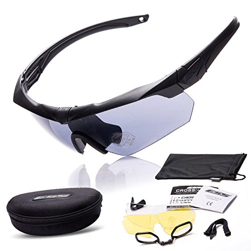 AV SUPPLY Outdoor Sport Polarized Sunglasses Crossbow Military Tactical Ballistic Goggles Eyewear Eye Mask Eyeshield Kit w/ Interchangeable Clear, Gray and Yellow 3 Lenses