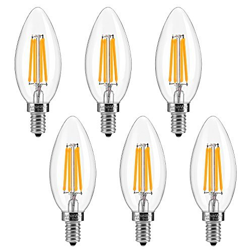 LuminWiz Candelabra LED bulbs, 4W 2700K E12 Base LED Filament Chandelier Light Bulbs 40W Equivalent, Warm White, 6-Pack