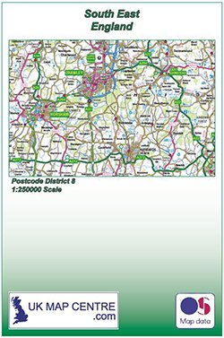 Map Of South East England.Road Map 8 South East England Colour Standard Matte Paper Folded