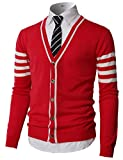 H2H Men Deep V Neck Color-Block Button Down Cardigan Red US M/Asia L (KMOCAL0186)