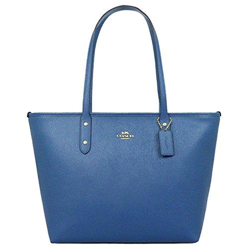 COACH CITY ZIP TOTE CROSSGRAIN LEATHER HANDBAG INK BLUE Coach Handbag Outlet