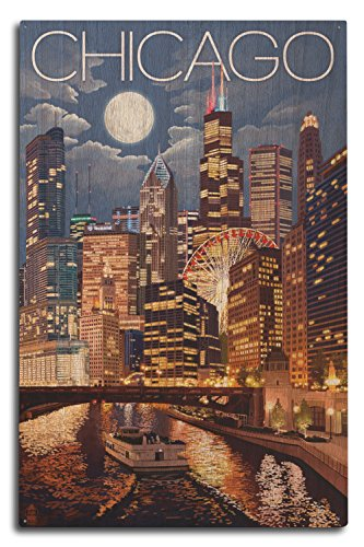 Lantern Press Chicago, Illinois - Skyline at Night (10x15 Wood Wall Sign, Wall Decor Ready to Hang)