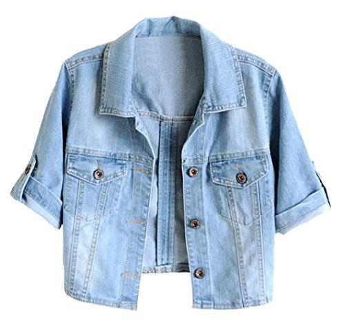 (Trendy XU Women Summer Short Sleeve Blue Denim Jacket Short Cropped Sunscreen Shawl (L))